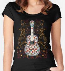 Sugar Skull Guitar T-shirt Women's Fitted Scoop T-Shirt