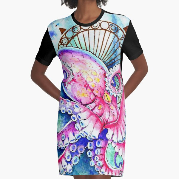 Watercolor Octopus Graphic T-Shirt Dress