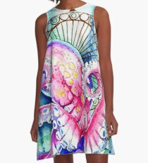 Watercolor Octopus A-Line Dress
