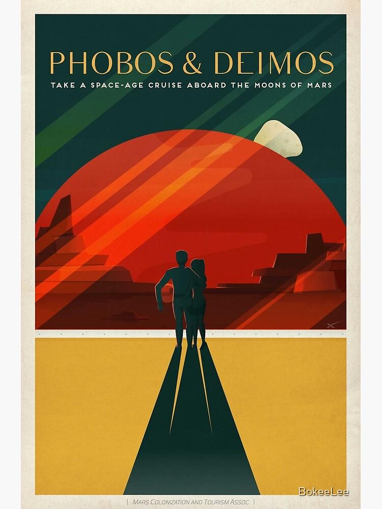 Mars-Tourismus-Plakat für Phobos und Deimos von BokeeLee