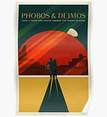 Mars-Tourismus-Plakat für Phobos und Deimos Poster