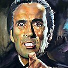 Christopher Lee - Horror of Dracula painting movie poster by Star Portraits Soutsos Art