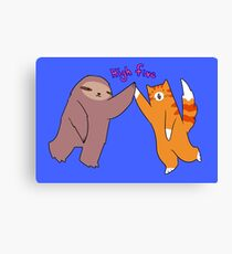 High Five Sloth and Cat Canvas Print