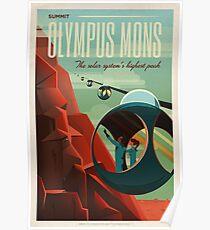 Mars-Tourismus-Poster für Olympus Mons Poster