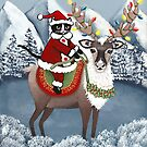 Santa Cat and His Reindeer by Ryan Conners