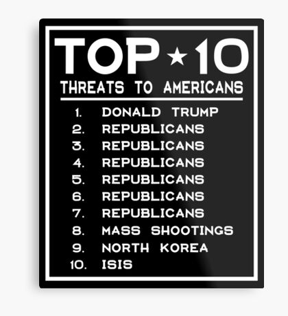 Top Ten Threats to Americans Metal Print