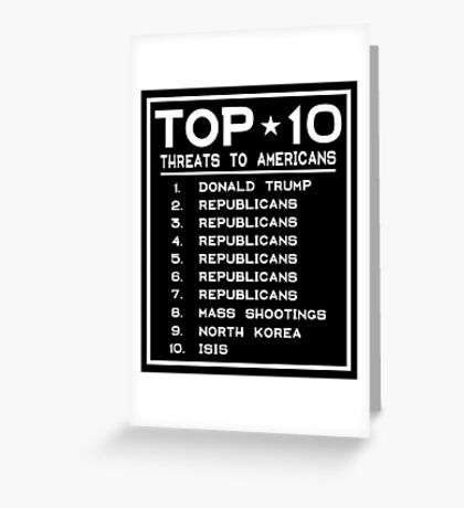Top Ten Threats to Americans Greeting Card
