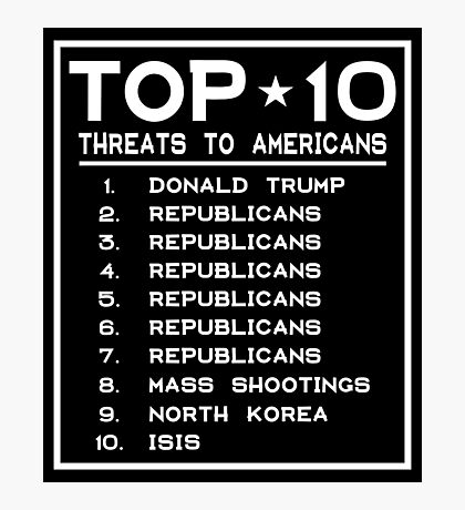 Top Ten Threats to Americans Photographic Print