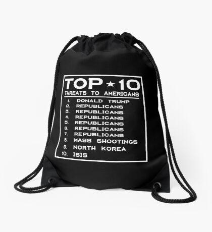 Top Ten Threats to Americans Drawstring Bag
