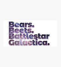 Bears Beets Battlestar Galactica Photographic Print
