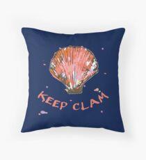 Keep Clam Throw Pillow