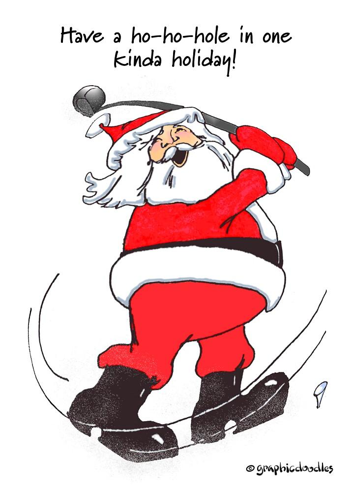 u0026quot santa golfing  u0026quot  by graphicdoodles