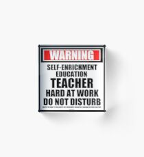 Warning Self-Enrichment Education Teacher Hard At Work Do Not Disturb Acrylic Block