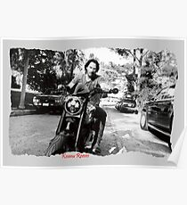 Keanu Reeves on Bike – Black and White  Poster