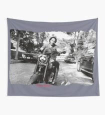 Keanu Reeves on Bike – Black and White  Wall Tapestry