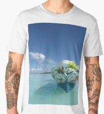 Boating on the Lagoon of Seven Colors, Bacalar, Mexico - Vertical Men's Premium T-Shirt