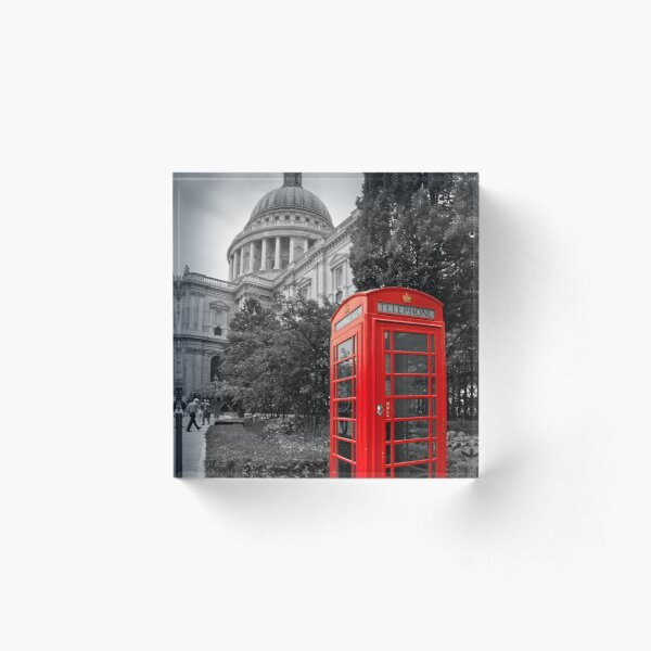 St Pauls Cathedral and the red telephone box Acrylic Block