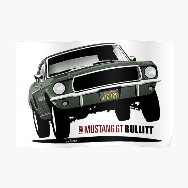 STEVE MCQUEEN-GUN BULLITT FORD MUSTANG DODGE CHARGER CAR JAPAN POSTER AUTOMOBILE