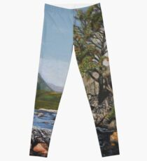 River Coe Scotland Oil on Canvas Leggings