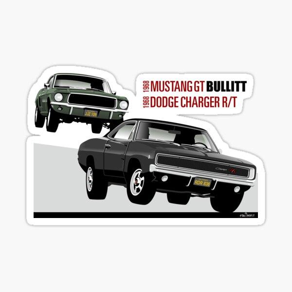 Bullitt voit des hommes le suivre dans une Dodge Charger R / T de 1968. Il manœuvre pour se placer derrière eux Sticker
