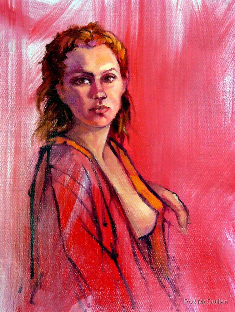 Portrait of Lucy - Female nude, oil painting by Roz McQuillan