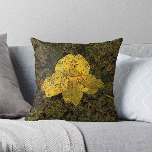 Goodenia Flower on Moss Throw Pillow