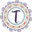 Monogramm-Buchstabe T | Personalisiert | Böhmisches Design von PraiseQuotes