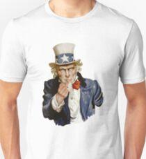 Uncle Sam giving middle finger Unisex T-Shirt