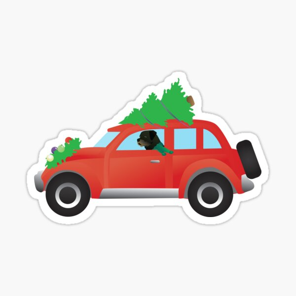 Rottweiler Driving a Red Car with Christmas Tree on Top Sticker