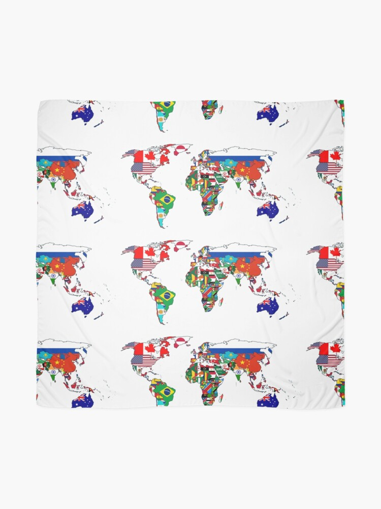 Alternate view of World Map by Flags Scarf