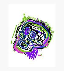 Neon Basquiat Portrait Photographic Print