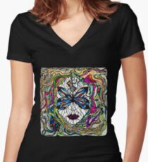 Beautiful mystical surreal girl face in a butterfly mask, hand drawn illustration Women's Fitted V-Neck T-Shirt