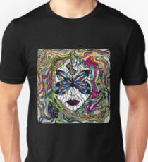 Beautiful mystical surreal girl face in a butterfly mask, hand drawn illustration Unisex T-Shirt