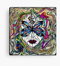Beautiful mystical surreal girl face in a butterfly mask, hand drawn illustration Canvas Print