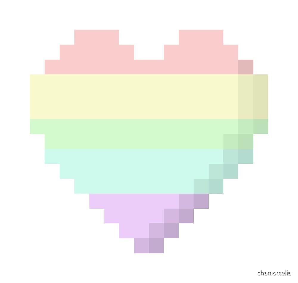 Coeur De Pixel Arc En Ciel Pastel Par Chamomelia Redbubble