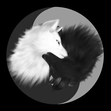 Yin and Yang Wolves by katarsi