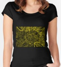 Decorative, abstract, psychedelic ethnic hand drawn background. Women's Fitted Scoop T-Shirt