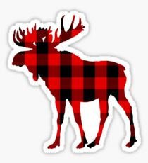 Red Buffalo Plaid Moose Sticker