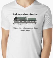 """Funny, for train fans. """"Ask me about trains"""" Trainspotter, steam train, model trains... T-Shirt"""