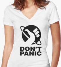 Don't Panic - Hitchhikers Guide Women's Fitted V-Neck T-Shirt