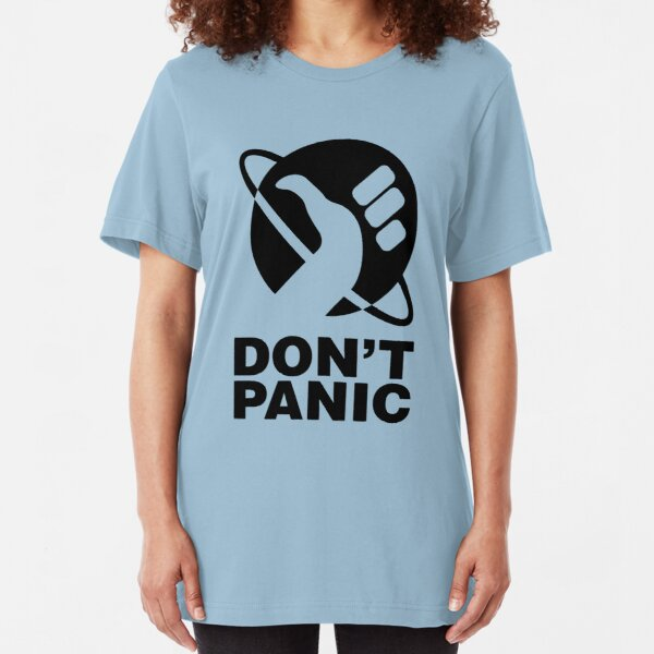 Don't Panic - Hitchhikers Guide Slim Fit T-Shirt