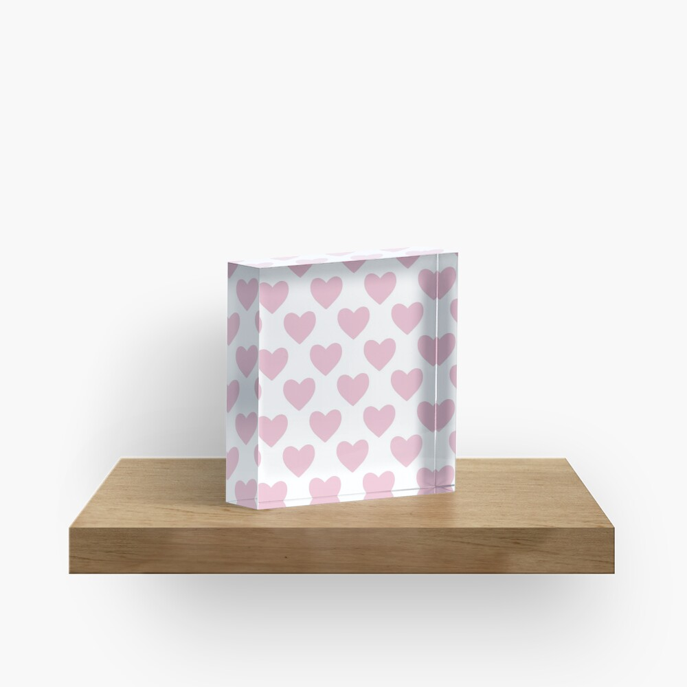 Pink Heart Pattern Acrylic Block