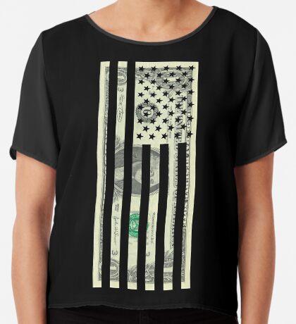 American Dollar Flag Chiffon Top