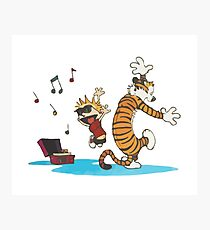 Calvin and hobbes Dance and Happy Photographic Print