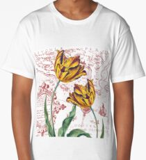 Red Yellow Tulips Maps Collage Long T-Shirt