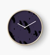 A Murder of Crows In Flight Vector Silhouette Clock