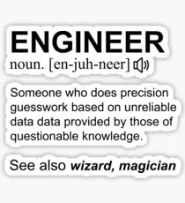 Engineer Definition Black Text Design Sticker