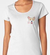 Corgi In Pocket T-Shirt Cute Paws Blush Smile Puppy Emoji  Women's Premium T-Shirt