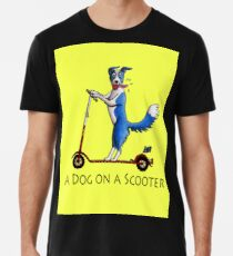 Ein Hund auf einem Roller Männer Premium T-Shirts