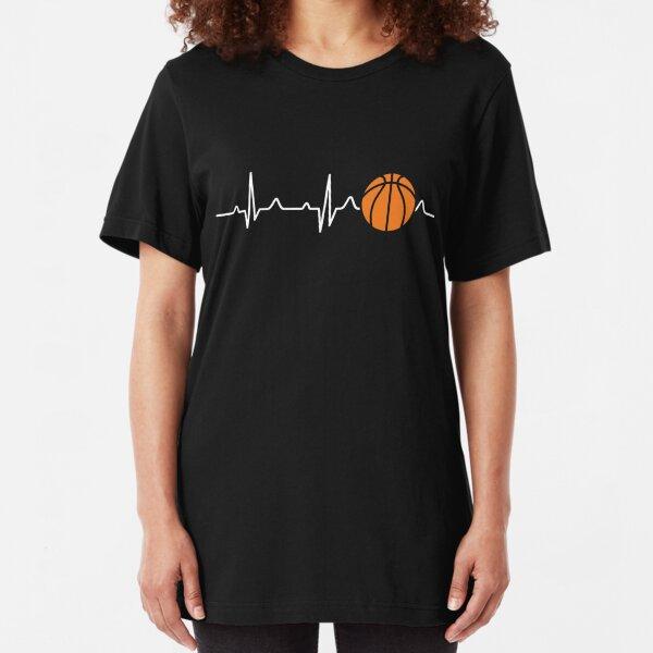 Basketball Heartbeat Slim Fit T-Shirt